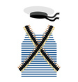Striped vest shirt-clothing sailor man Tape with vector image vector image