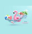 summer festive background 3d realistic flamingo vector image