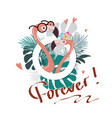 summer slogan print with flamingo vector image vector image