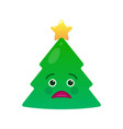 tragic christmas tree isolated emoticon vector image vector image