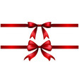 two styles of red ribbon bow vector image vector image