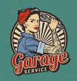 vintage garage service emblem vector image vector image