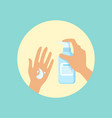 washing hands with liquid soap round vector image vector image