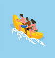 water fun people riding banana boat in summer vector image vector image