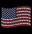 waving american flag stylization of thumb up vector image