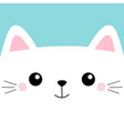 white cat head face square icon with eyes cute vector image vector image