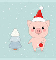 winter with pigs vector image