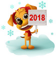 yellow dog symbol of year 2018 holds sign vector image vector image