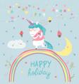 cute unicorn walking on the rainbow vector image