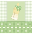 Greeting card with baby bottle-01 vector image