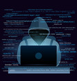 hacker with laptop hacking vector image