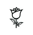 simple black rose icon on white background vector image