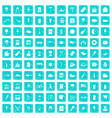 100 street food icons set grunge blue vector image vector image