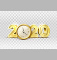 2020 new year holiday with realistic clock vector image vector image