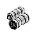 3d model of gears on a white vector image vector image
