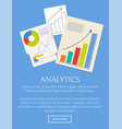 analytics banner isolated on bright blue backdrop vector image vector image