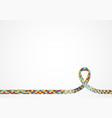 autism awareness ribbon background vector image