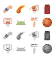 basketball and attributes cartoonmonochrome icons vector image vector image
