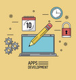beige background poster of apps development with vector image vector image
