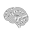 brain shaped maze black silhouette on white vector image