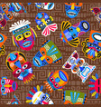 brown tribal masks seamless pattern vector image vector image