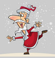 cartoon joyous santa claus stands in a pose vector image vector image