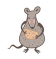 chinese new year symbol rat or mouse with cheese vector image