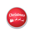 christmas button with santa claus and three deer vector image
