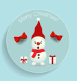 Christmas Greeting Card with Snowman and Christmas vector image