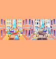 city street before and after earthquake damaged vector image