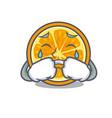 crying orange mascot cartoon style vector image