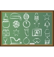 Drawn icons with Christmas paraphernalia on the vector image vector image
