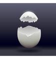 egg split in half on a dark background vector image vector image