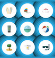 flat icon beach set of moisturizer coconut ocean vector image vector image