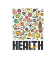 fruits and vegetables vegetarian banner healthy vector image vector image