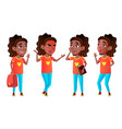 girl schoolgirl kid poses set black afro vector image vector image