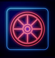 glowing neon old wooden wheel icon isolated on vector image vector image