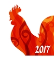 Greeting card with rooster symbol of 2017 by vector image