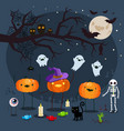 halloween three pumpkins on a blue background vector image vector image