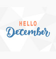 hello december hand lettering modern calligraphy vector image vector image