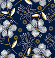 Hibiscus tropical embroidery navy seamless pattern vector image vector image