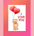 i love you inscription on poster cute teddy bear vector image vector image