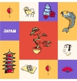 Japan Squared Concept with Doodles vector image vector image