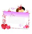 Letterhear for valentines purple vector image vector image