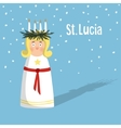 Little blonde girl with wreath and candle crown vector image