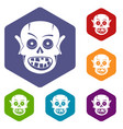 living dead icons set hexagon vector image vector image