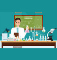 male scientist at chemical laboratory science vector image vector image