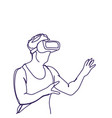 man sketch wearing 3d glasses virtual reality vector image