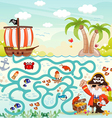 maze game pirate try to find treasure vector image vector image