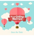 Pink hotair ballons fly with clouds vector image